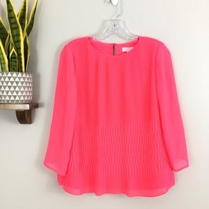 Ted Baker Gyda Pleated Blouse Pink Neon Chiffon